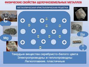 Твердые вещества серебристо-белого цвета Электропроводны и теплопроводны Легк