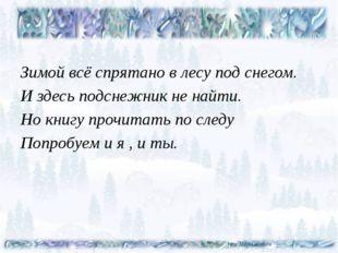 Зимой всё спрятано в лесу под снегом. И здесь подснежник не найти. Но книгу