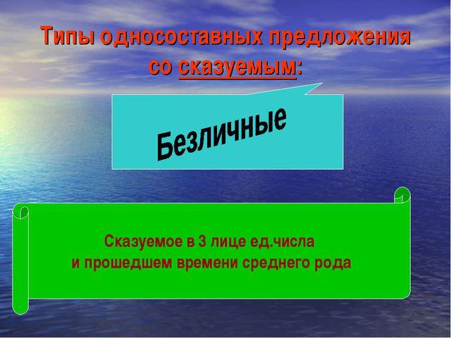 Типы односоставных предложения со сказуемым: Сказуемое в 3 лице ед.числа и пр...