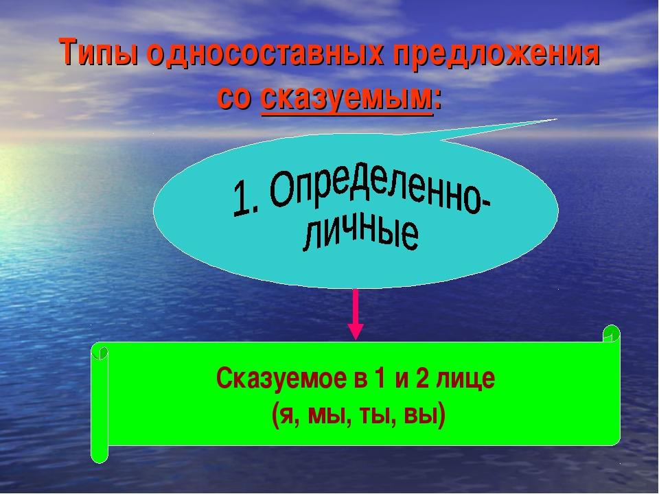 Типы односоставных предложения со сказуемым: Сказуемое в 1 и 2 лице (я, мы, т...