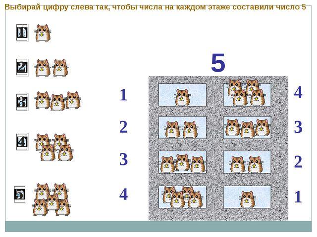 5 1 2 4 3 3 2 1 4 Выбирай цифру слева так, чтобы числа на каждом этаже соста...
