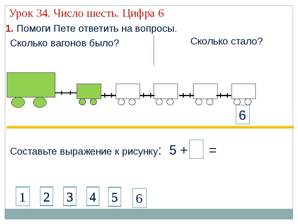 1. Помоги Пете ответить на вопросы. Составьте выражение к рисунку: 5 + 1 = С...