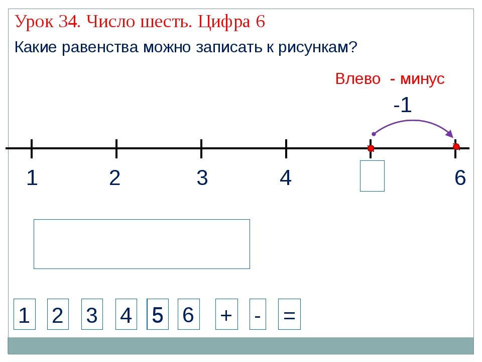 1 3 2 4 1 2 3 4 + - = Какие равенства можно записать к рисункам? -1 5 Влево -...