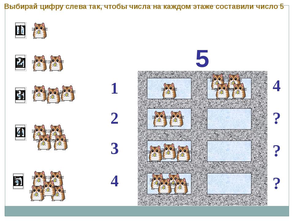 5 1 2 4 ? 3 ? ? 4 Выбирай цифру слева так, чтобы числа на каждом этаже соста...