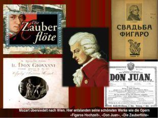 Mozart űbersiedelt nach Wien. Hier entslanden seine schőnsten Werke wie die O