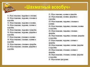 «Шахматный всеобуч» 11. Игра пешками, ладьями и слонами. 12. Игра пешками, л