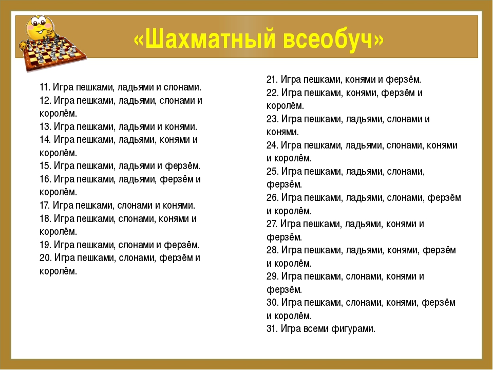 «Шахматный всеобуч» 11. Игра пешками, ладьями и слонами. 12. Игра пешками, л...