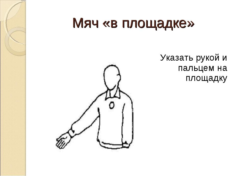 Мяч «в площадке» Указать рукой и пальцем на площадку