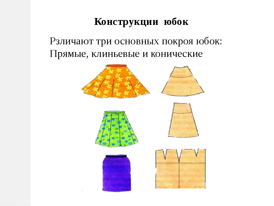 Конструкции юбок Рзличают три основных покроя юбок: Прямые, клиньевые и конич...