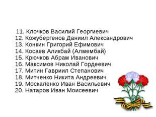 11. Клочков Василий Георгиевич 12. Кожубергенов Даниил Александрович 13. Кон