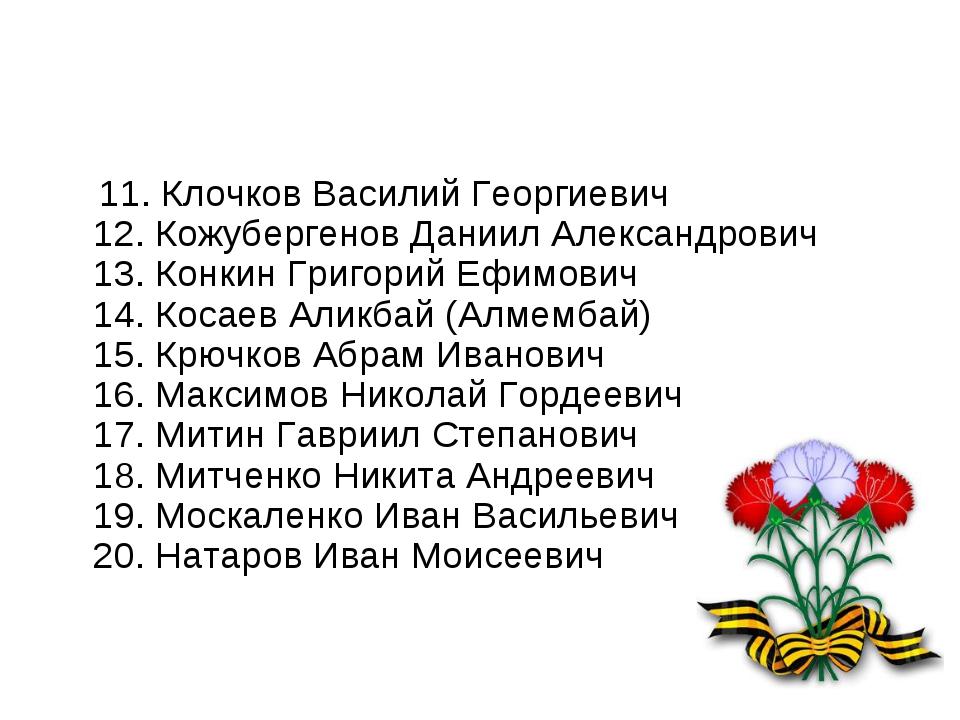 11. Клочков Василий Георгиевич 12. Кожубергенов Даниил Александрович 13. Кон...