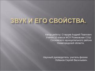 Автор работы: Старцев Андрей Павлович Ученик 10 класса МОУ Рожковская СОШ С