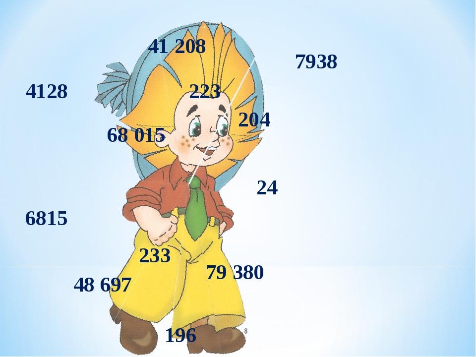 204 41 208 233 48 697 196 79 380 223 68 015 24 6815 7938 4128 *