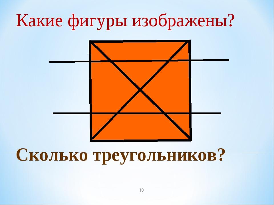 Какие фигуры изображены? * Сколько треугольников?