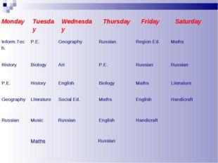 MondayTuesdayWednesdayThursdayFridaySaturday Inform.Tech. P.E. Geograp