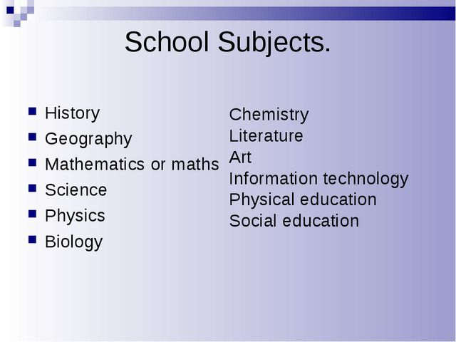 School Subjects. History Geography Mathematics or maths Science Physics Biolo...