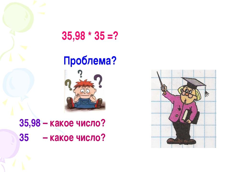 35,98 * 35 =? Проблема? 35,98 – какое число? 35 – какое число?
