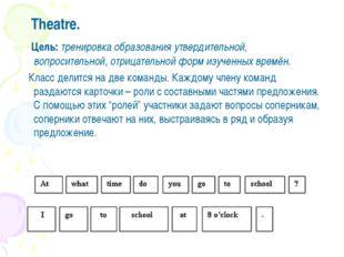 Theatre. Цель: тренировка образования утвердительной, вопросительной, отрица