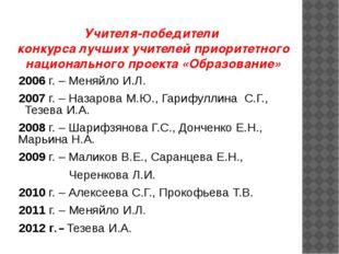 Учителя-победители конкурса лучших учителей приоритетного национального проек