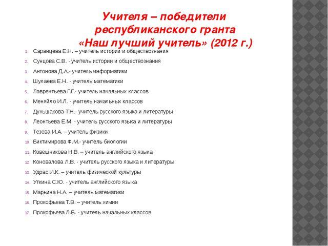 Учителя – победители республиканского гранта «Наш лучший учитель» (2012 г.) С...