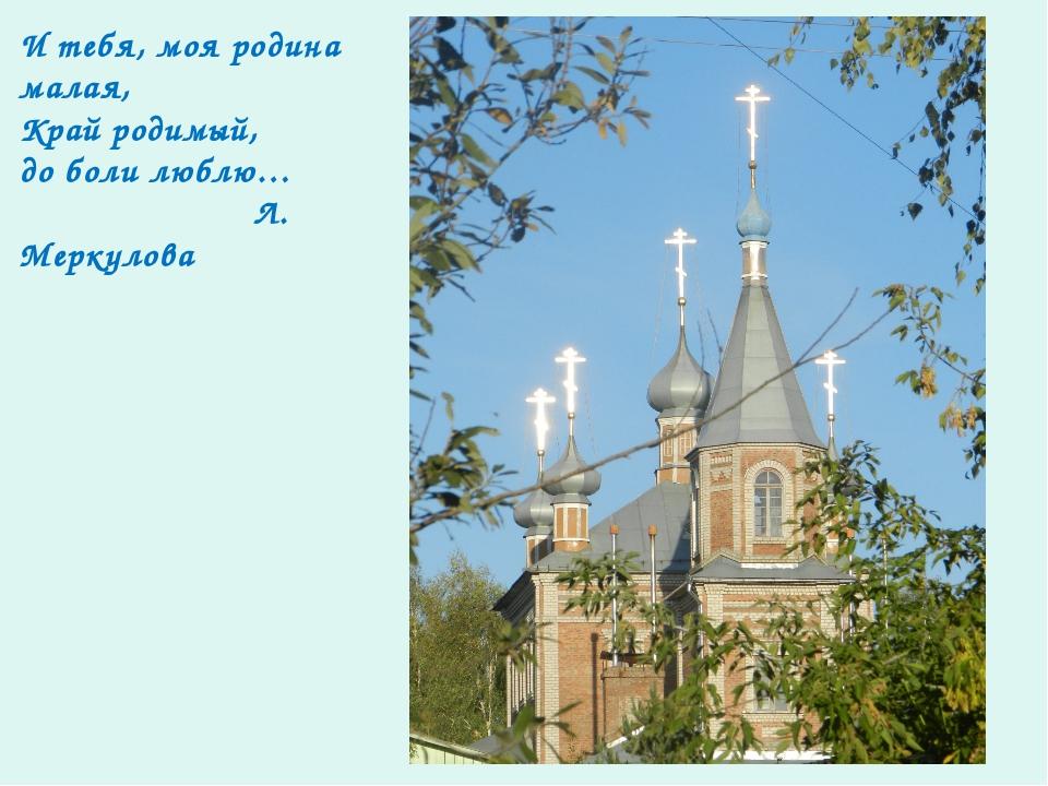 И тебя, моя родина малая, Край родимый, до боли люблю… Л. Меркулова