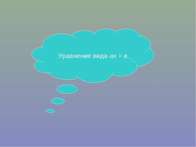 Уравнение вида ах = в.