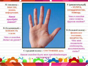 М (мизинец) – МЫСЛИ, знания, информация. Какие приобрёл знания? Б (безымянный