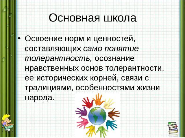 Основная школа Освоение норм и ценностей, составляющих само понятие толерантн...