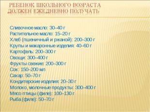 Сливочное масло: 30–40 г Растительное масло: 15–20 г Хлеб (пшеничный и ржаной