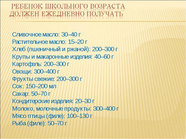 Сливочное масло: 30–40 г Растительное масло: 15–20 г Хлеб (пшеничный и ржаной...