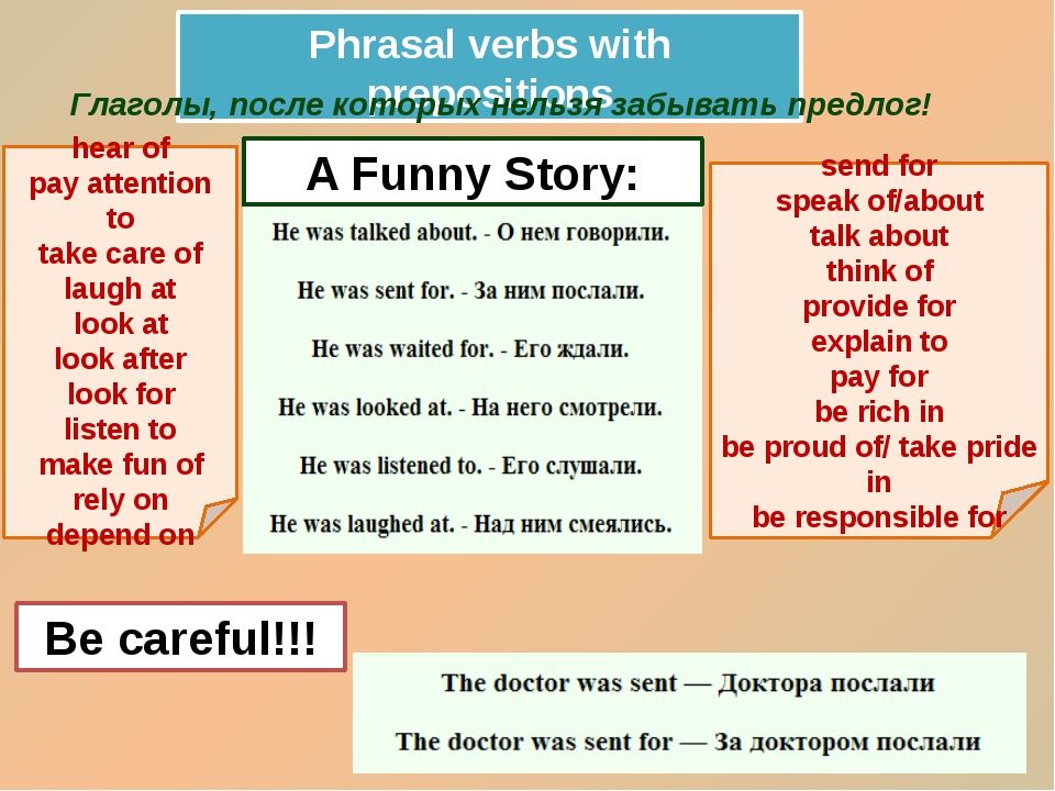Phrasal verbs with prepositions Глаголы, после которых нельзя забывать предло...