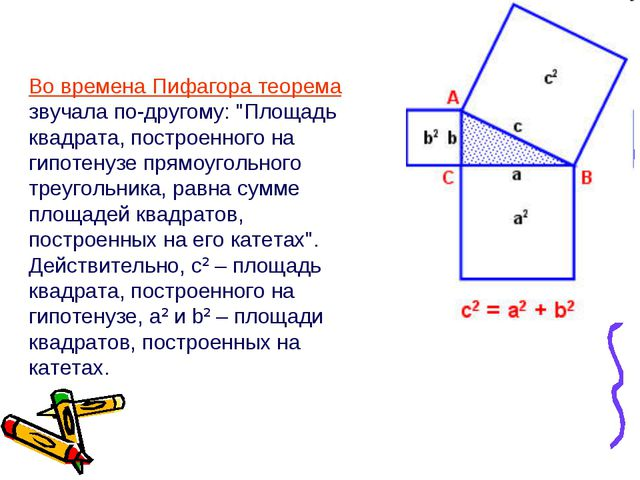 "Во времена Пифагора теорема звучала по-другому: ""Площадь квадрата, построенно..."