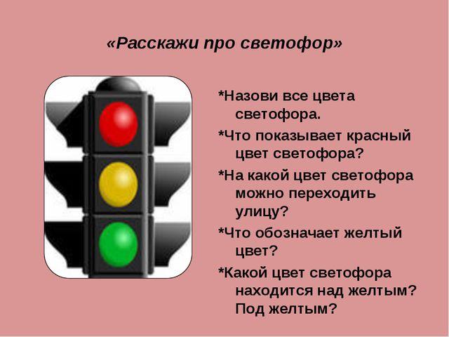 «Расскажи про светофор» *Назови все цвета светофора. *Что показывает красный...