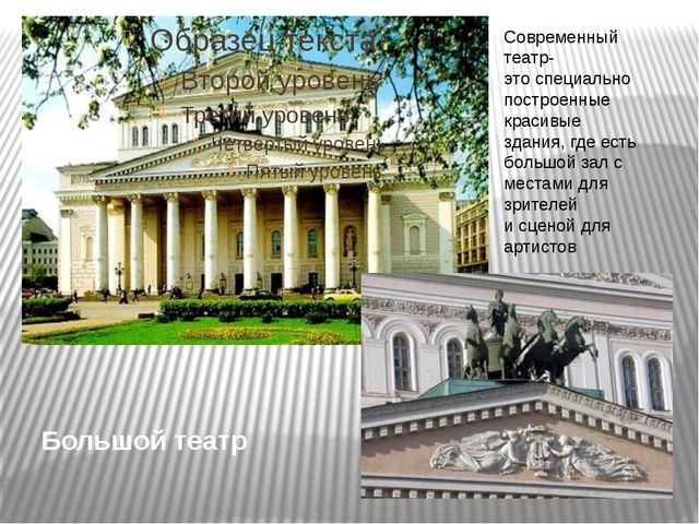 Большой театр Современный театр- это специально построенные красивые здания,...