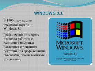 WINDOWS 3.1 B 1990 году вышла очередная версия — Windows 3.1 Графический инте
