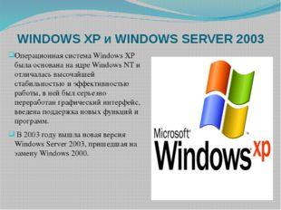 WINDOWS XP и WINDOWS SERVER 2003 Операционная система Windows XP была основан