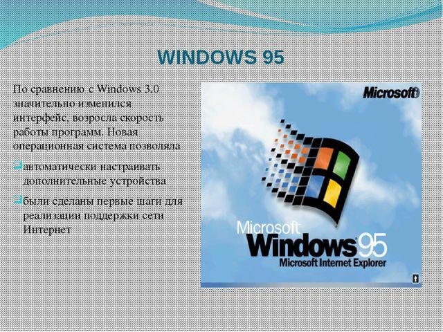 WINDOWS 95 По сравнению с Windows 3.0 значительно изменился интерфейс, возрос...