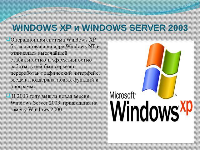 WINDOWS XP и WINDOWS SERVER 2003 Операционная система Windows XP была основан...