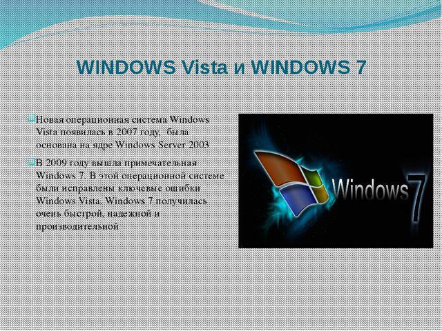 WINDOWS Vista и WINDOWS 7 Новая операционная система Windows Vista появилась...