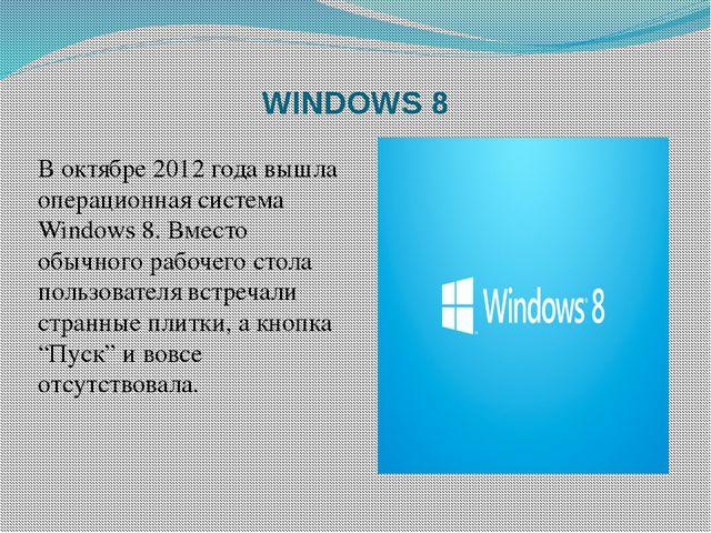 WINDOWS 8 В октябре 2012 года вышла операционная система Windows 8. Вместо об...