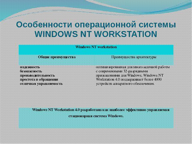 Особенности операционной системы WINDOWS NT WORKSTATION Windows NT workstatio...