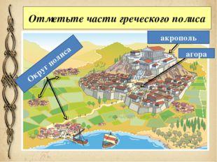 Отметьте части греческого полиса акрополь агора Округ полиса