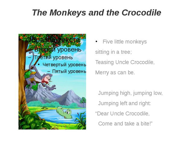 The Monkeys and the Crocodile Five little monkeys sitting in a tree; Teasing...