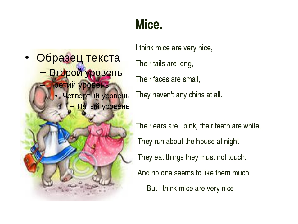 Mice. I think mice are very nice, Their tails are long, Their faces are sma...