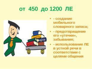 от 450 до 1200 ЛЕ - создание мобильного словарного запаса; - предотвращение е
