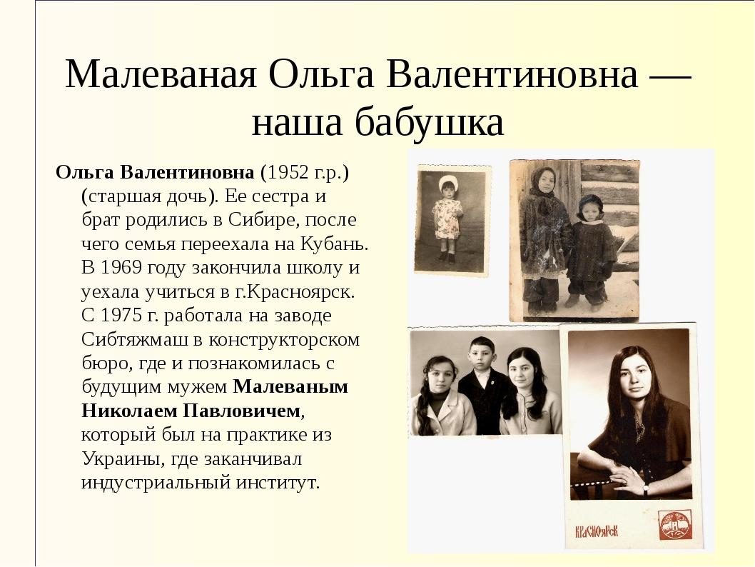 Малеваная Ольга Валентиновна — наша бабушка Ольга Валентиновна (1952 г.р.) (с...