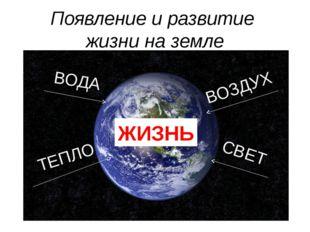 Появление и развитие жизни на земле ВОДА ВОЗДУХ ТЕПЛО СВЕТ ЖИЗНЬ