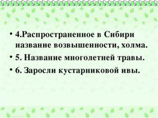 4.Распространенное в Сибири название возвышенности, холма. 5. Название многол