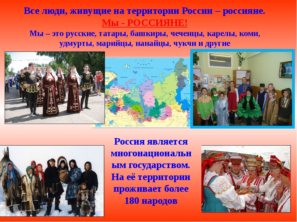 Все люди, живущие на территории России – россияне. Мы - РОССИЯНЕ! Мы – это ру...