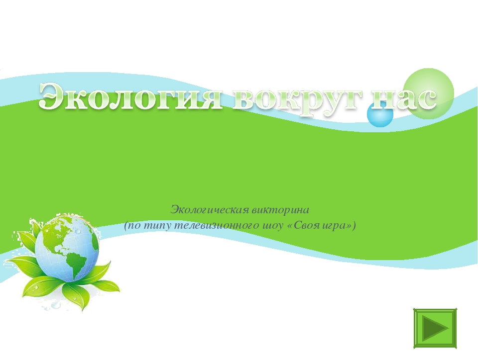 Экологическая викторина (по типу телевизионного шоу «Своя игра»)